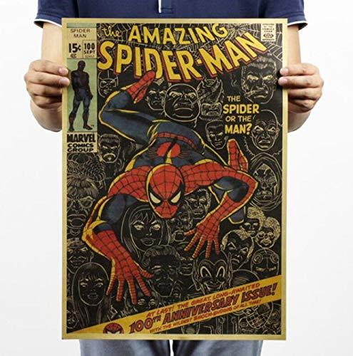 Spiderman Iron Man Les Avengers Marvel Héros Peinture Film Affiche Vintage 51.5 * 36 Cm Art Mural Papier Kraft Affiches Stickers Muraux E7