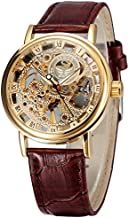 Men's Retro handwind Mechanical Watch Leather Strap Roman Number Transparent Dial Skeleton Design with Gift Box