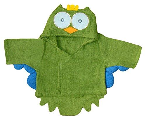 BOMIO | Baby Bademantel Eule | Baby Kapuzen-Bademantel aus 100% hautfreundlichem Frottee | waschmaschinenfest und trocknergeeignet | bis 80cm Körpergröße | Olivgrün