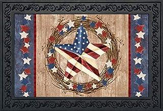 "Americana Barnstar Patriotic Doormat Primitive Wreath Indoor Outdoor 18"" x 30"""