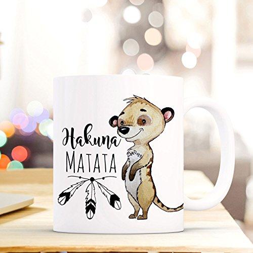 ilka parey wandtattoo-welt Tasse Becher Kaffeebecher mit Erdmännchen & Spruch Hakuna Matata Kaffeebecher Geschenk ts674