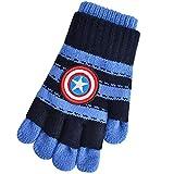 LONGLONGJINGXIAO Kinderhandschuhe Winterhalbfinger alle Finger wärmen Grundschule fünf Finger Wollhandschuhkinder Spiderman 6-12 Jahre alt (Farbe : Blau)