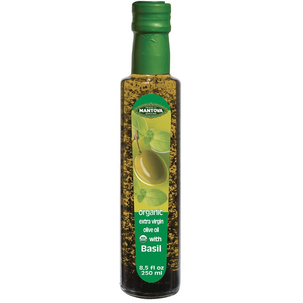 Mantova Basil Organic Extra Virgin Olive Oil, 8.5-Ounce Bottles