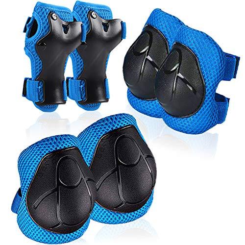 BEYAOBN Conjuntos de Patinaje Infantil, Juego de Protecciones Patines Rodilleras Coderas Muñequeras para Bicicleta Patinaje Ciclismo Monopatín Scooter BMX y Deportes Extremos (6 Piezas) Azul