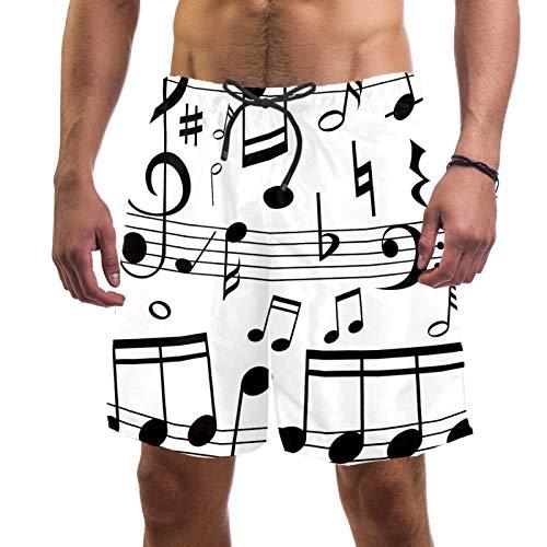 AITAI Pantalones cortos de playa para hombre, notas musicales en línea básculas de secado rápido, traje de baño