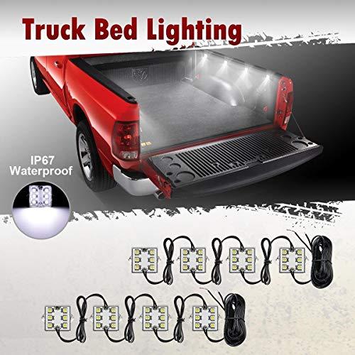 Partsam 8Pods Truck Bed LED Lighting Strip Kit White 6-5050-SMD 48LED Tail Running Board Rear Work Box LED Light for Truck Pickup Cargo Trailer RVs