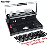 Binding Machine, TIANSE 21-Holes, 450 Sheets, Comb Binding Machine with 100 PCS 3/8'' Comb Binding Spines Starter Kit, Comb Binding Machine for Letter Size, A4, A5 or Smaller Sizes