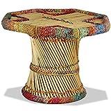 vidaXL Mesa Centro Bambú Chindi Multicolor Mesita Mesilla Auxiliar Mueble Sala