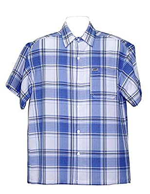 ALLBrand Men's Casual Short Sleeve Checkered Plaid Shirt