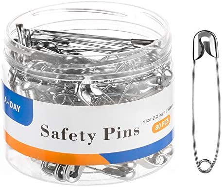 A DAY Large Safety Pins 2 2 Inch 56mm Size 4 80 Count Nickel Finish product image