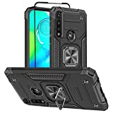 Moto G Power Phone Case, Motorola G Power Case with Screen Protector, HNHYGETE Hard Rubber Bumper [Shockproof] Tough Rugged with 360 Rotation Ring Kickstand Cases for Moto G Power (Black)