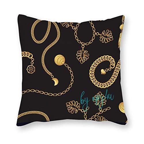 happygoluck1y - Funda de cojín con diseño de cadena de oro, 45 x 45 cm, para mujer y niñas
