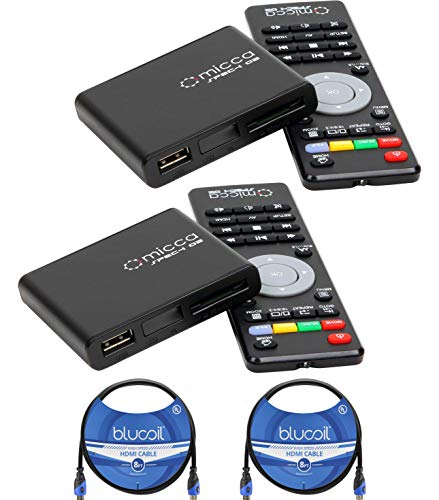Micca Speck G2 1080p Full-HD Ultra Portable Digital Media Players (2-Pack) Bundle with Blucoil 2-Pack of 8-FT HDMI Cables