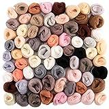 72pcs 7.6 oz Needle Felting Wool- 24 Dark Colors Nature Fibre Wool Yarn Roving Needle Felting Hand Spinnings for Wool Felting Yarn Supplies DIY Craft Materials, 3g/Color
