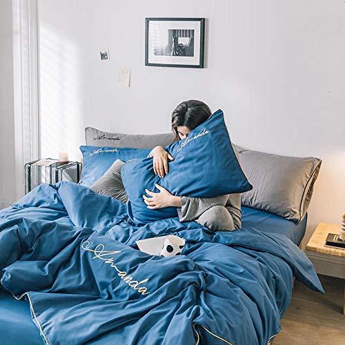 Chuanglanja dekbedovertrek voor tweepersoonsbed met lakens 1,5 m uit vier delen, zacht en comfortabel, donkerblauw