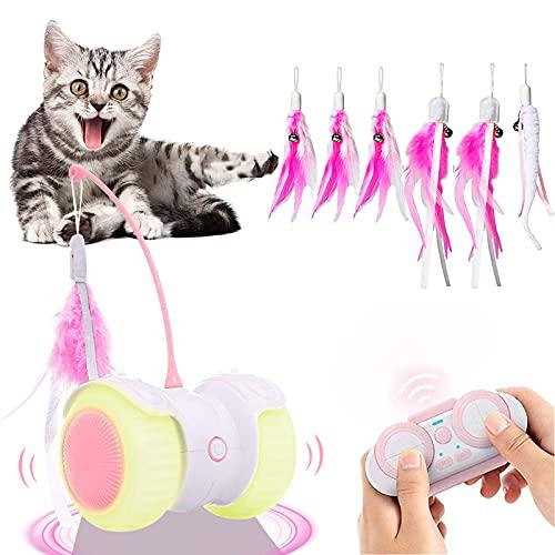 Ewilibe Katzenspielzeug Elektrischer Interaktives Spielzeug Katzen Intelligenzspielzeug 14 in 1 Automatischer Drehender Katzenball mit Fernbedienung USB-Aufladung LED-Lichts Federn Kätzchen und Katzen