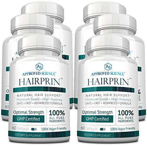 Hairprin - Promote Hair Regrowth and Help Boost Scalp Circulation. 60 Vegan Friendly Capsules Per Bottle - 6 Bottles Supply