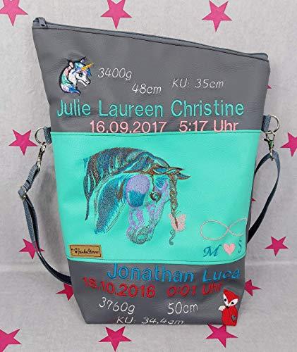 pinkeSterne ☆ Große Umhängetasche PFERD Handtasche Bestickt Stickerei Handmade Einhorn Fuchs Name