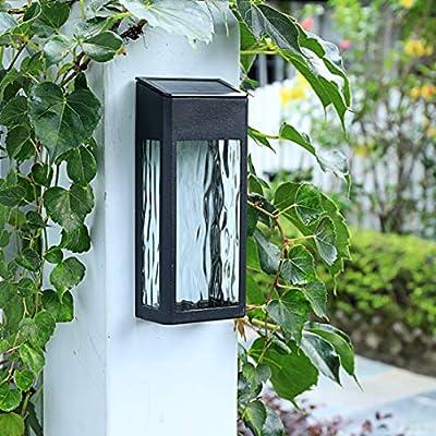 JLDNC Solar Wall Light Fixture, Outdoor Wall Lantern Sensor Porch Lights Waterproof Wall Sconce for Doorway,Black_2 Pack