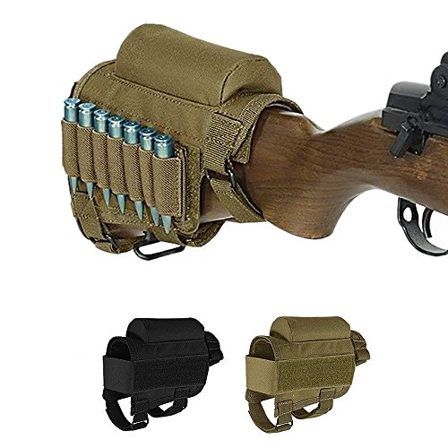 Kwnraor Rifle Cheek Riser, Tactical Rifle Buttstock Cheek Rest Pad with 7 Rifle Stocks Holder for 308 - .300Winmag (Khaki)