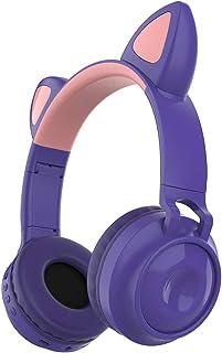 Loijon ZW-028 Fone de ouvido sem fio Bluetooth Brilhante Fones de ouvido com orelha de gato Fones de ouvido com microfone ...
