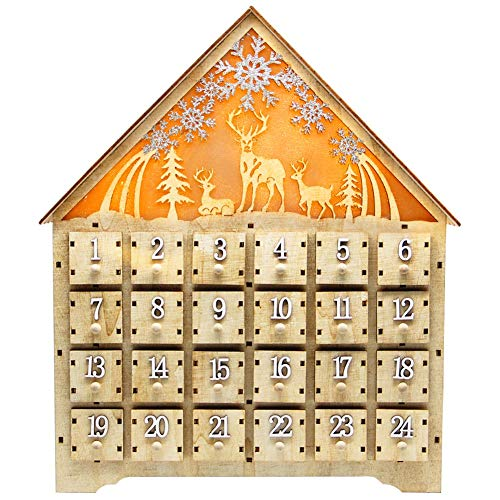 SAND MINE Countdown to Christmas Wooden LED Lighted Advent Calendar, 24 Drawers (Wood)