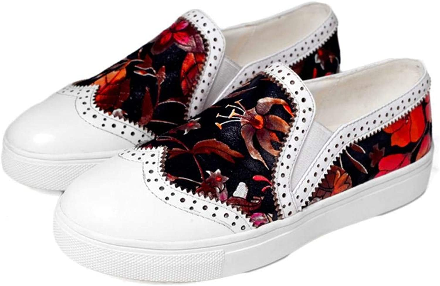Lady Sport Spring Women's First Layer of Leather Flat Heel Round Head Deep Floral Printed Pattern Stylish Hipster Oudoor Universal Casual shoes