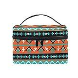 HaJie - Bolsa de maquillaje de gran capacidad, diseño geométrico tribal étnico azteca de viaje, portátil, neceser, bolsa de almacenamiento, bolsa de lavado para mujeres y niñas