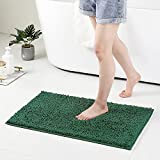 Nulubuu Chenille Extra Soft Bathroom Rug Mat, 16 x 24 Inches, Extra Absorbent Shaggy and Non Slip Rug, Machine Wash Dry, Green