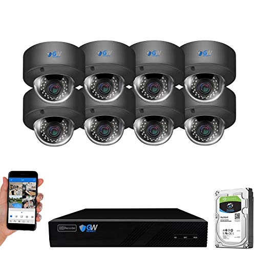GW Security AutoFocus IP Camera System, 8 Channel H.265 4K NVR, 8 x 5MP HD 1920P Dome POE Security Camera 4X Optical Motorized Zoom Outdoor Indoor, 8CH8C5075MIP