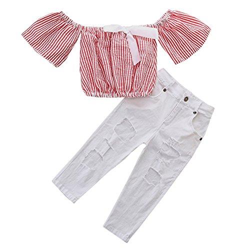 SCFEL 2 stücke Outfits Kleinkind Baby Mädchen Streifen Schulterfrei Top + Loch Jeans Hose Sommer Kleidung Set für 0-5 Jahre (Rosa , 2-3 Jahre)