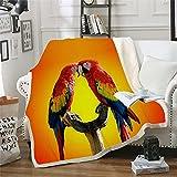 NBVGHJ Colorful Parrot Brid Blanket Manta de impresión 3D en la Cama Niños Niña Flor Textiles para el hogar Estilo 150×130CM