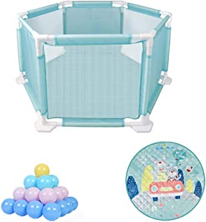 MJY Safety Fence Playpens Safety Game Fence Kids Playground  Indoor Outdoor Portable Folding with Mat and Balls As Shown