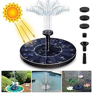 LIUMY Solar Fuente Bomba,1.4W Fuente Solar Jardín Solar Panel Flotador Fuente,Kit de Bomba Sumergible para el Aire Libre…