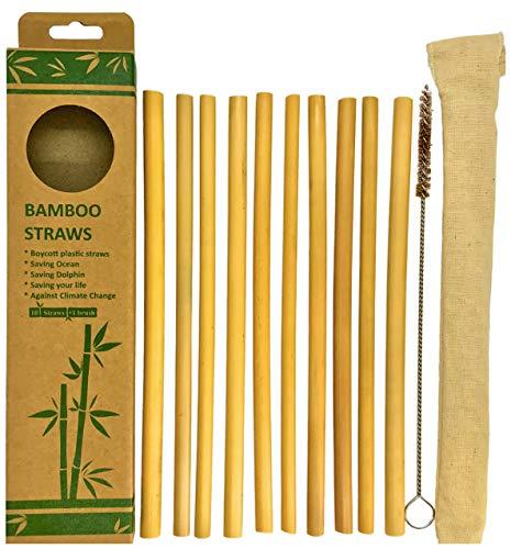 10 pailles en bambou La Triba   naturelles réutilisables biologiques   coupées à la main au Vietnam   idéales pour jus smoothies thé   avec brosse de nettoyage & pochette