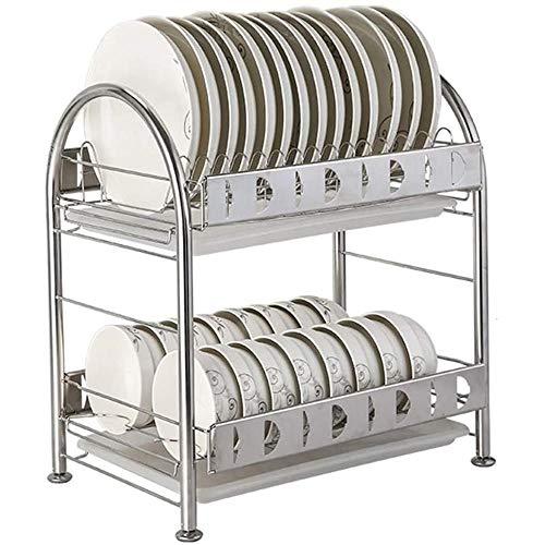 JXTBFQ Secadora, Rejilla para Utensilios de Cocina de Acero Inoxidable de 2 Capas, Rejilla de Drenaje sobre el Fregadero, instalación sin Herramientas (41,5 * 28 * 45 cm)