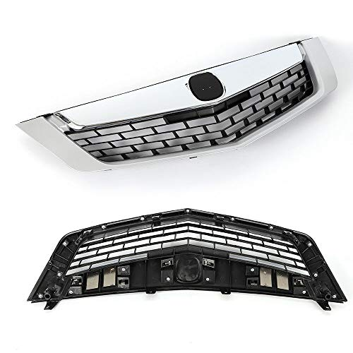 Front Grille Chrome Trim Bumper Upper Grill Fit For 09-10 Acura TSX 2010 2009 Chrome Front Bumper Mesh Grille Mesh Honeycomb Cover Molding Vent Hood Trim Black ABS Plastic