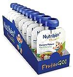 Nutribén - Fruta And Go ! Fruta 100% natural, Manzana Plátano, Pack de 10 Unidades de 90 gr.