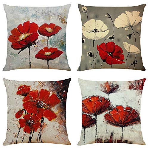 BCKAKQA Throw Pillow Covers 18x18 inches Set of 4 Red Flower Cushion Covers 45cm x 45cm Boho Linen Square Throw Pillow Cases for Living Room Sofa Couch Bed Decorative Pillowcases