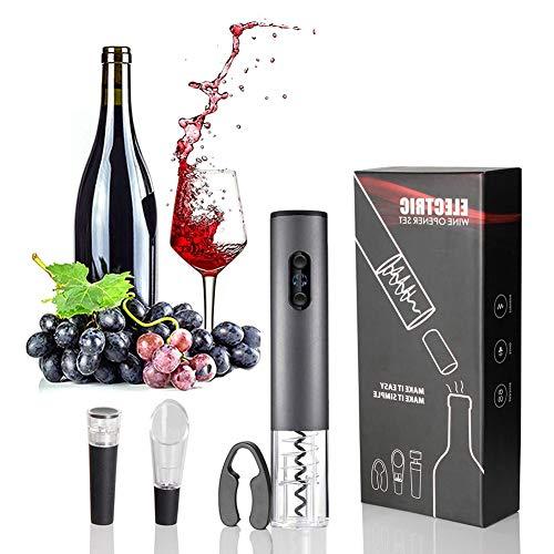 Sacacorchos Electrico Profesional, Abridor de Vino Automatico Abridor Botellas Recargable con Corta Cápsulas, Vertedor de Vino, Tapón de Vino Silicona de Vacío, Caja de Regalo