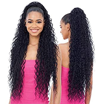 """Long Curly Drawstring Ponytail 30""""Synthetic Clip In Ponytail Extensions Black Color for Women Afro Curly Corn Wave Clip on Ponytail 1B"""