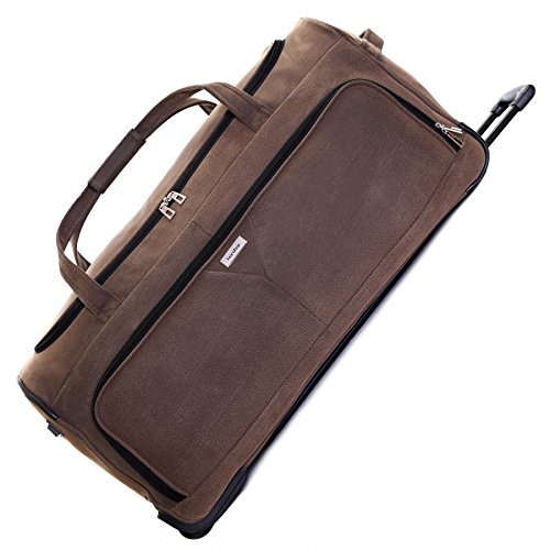 Karabar Extra Large Wheeled Travel Luggage Holdall Bag XL 30 inch 3.5 kg 120 litres with 2 wheels, Portola Brown