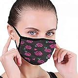 Dusk Proof Mundschutz, rosa, isoliert, schwarzer Hintergrund, wiederverwendbar und waschbar, Mundschutz für Zuhause/Außenbereich