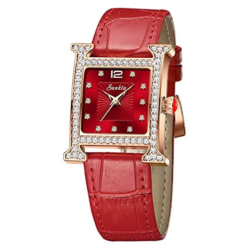 Relojes LIGE para Mujer, Relojes Impermeables de Cuero para Mujer, Reloj de Pulsera de Cuarzo analógico Elegante a la Moda para Mujer y niñas