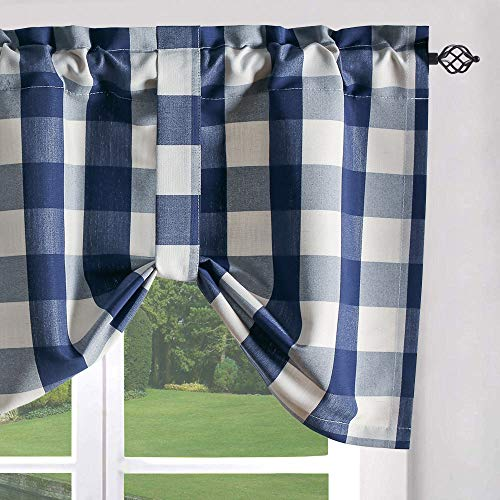 VOGOL Navy and White Farmhouse Curtain Valance, Buffalo Check Tie Up Window Shade Rod Pocket Tie-up Valances for Cafe, 52''x18'', One Piece