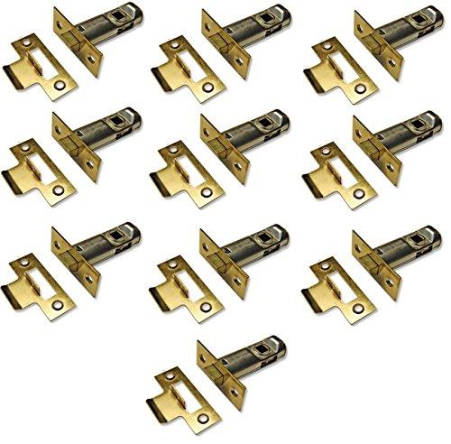 10 juegos de pestillo tubular, pestillo de alta calidad, diseñado para ser utilizado con manijas de puerta con muelles, aprobado por la CE (65 mm, latón pulido de 2.1/2