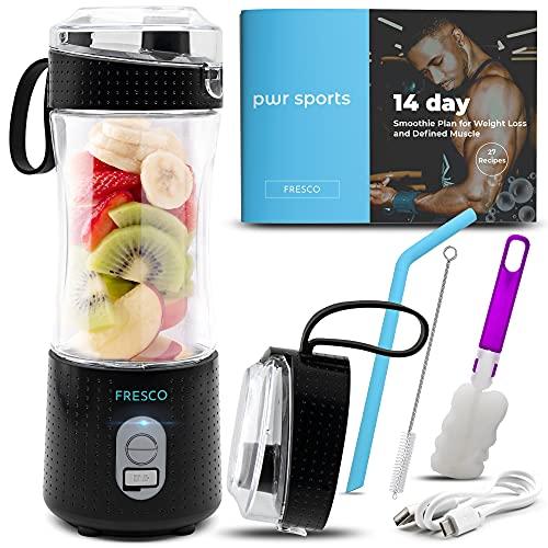 Portable Blender, Personal Size Blender for Shakes and Smoothies, Fruit Smoothie Blender, Milkshake – Juicer Mini Blender 4000 mAh USB Rechargeable with 6 Blades, Handheld use in Sports, Travel, Gym