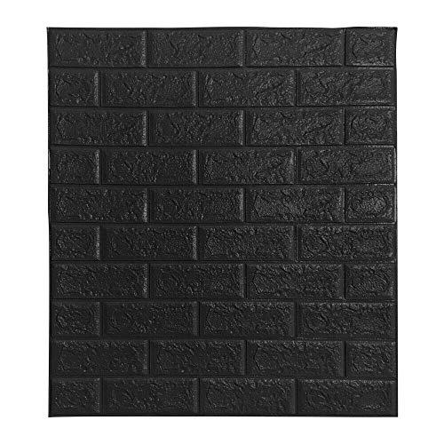 BonChoice 10Pcs 70×77cm 3D DIY Tile Brick Wall Stickers Self-Adhesive Wallpaper Decals PE Foam for Living Room Bedroom Children's Room Boy/Girl (Black)