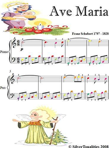 Ave Maria Easy Piano Sheet Music with Colored Notes (English Edition)