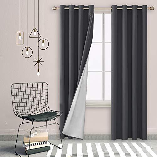 Deconovo Cortinas Salon Aislantes Térmicas Color Liso Oxford Capa de Plata, 100% Poliéster, Gris Oscuro, 135 x 260 cm